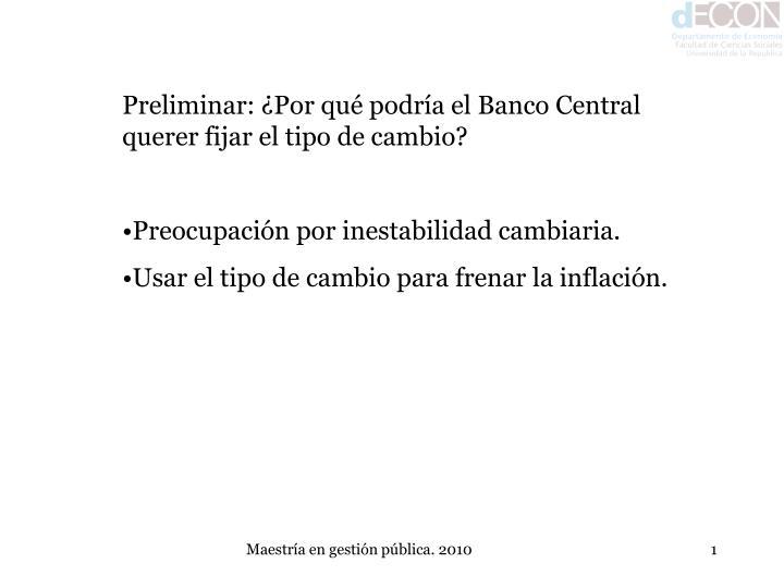Preliminar: ¿Por qué podría el Banco Central querer fijar el tipo de cambio?