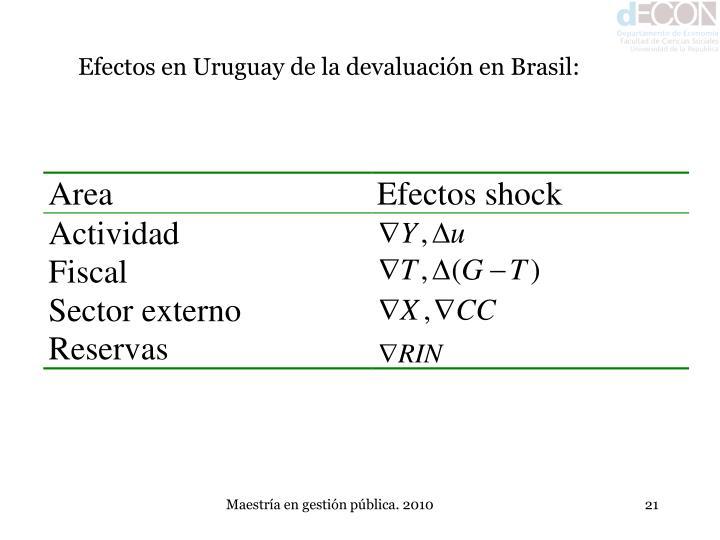 Efectos en Uruguay de la devaluación en Brasil: