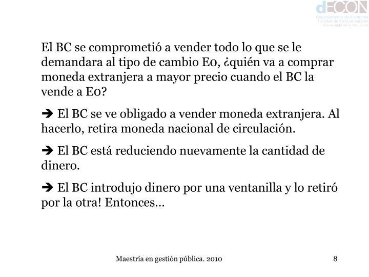El BC se comprometió a vender todo lo que se le demandara al tipo de cambio E0, ¿quién va a comprar moneda extranjera a mayor precio cuando el BC la vende a E0?