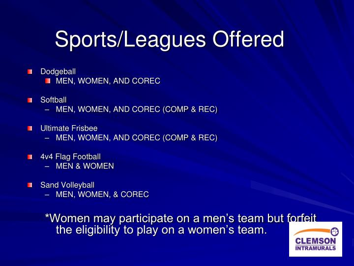 Sports leagues offered