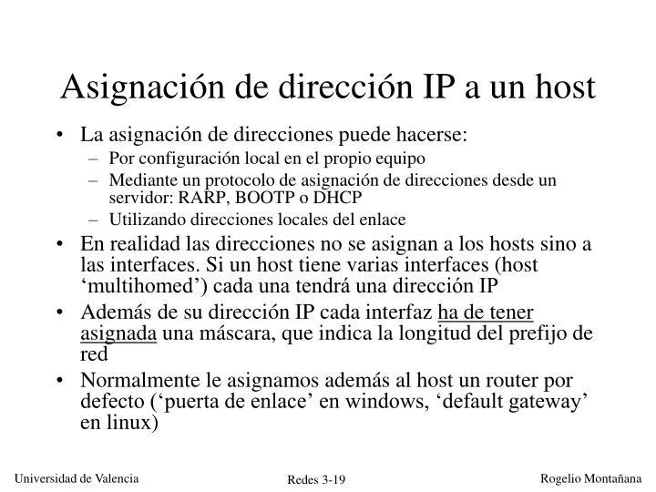 Asignación de dirección IP a un host