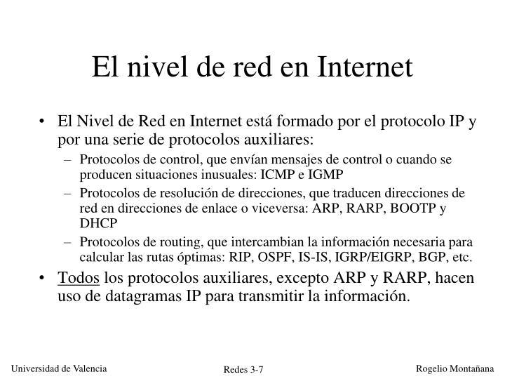 El nivel de red en Internet