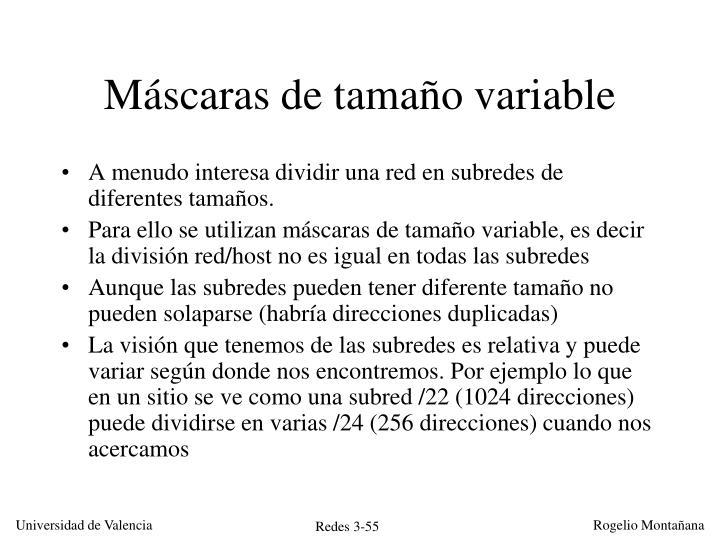 Máscaras de tamaño variable