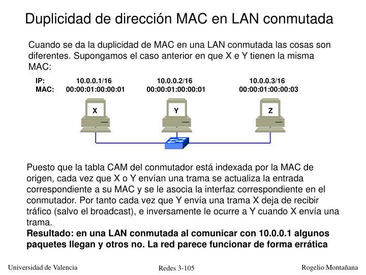 Duplicidad de dirección MAC en LAN conmutada