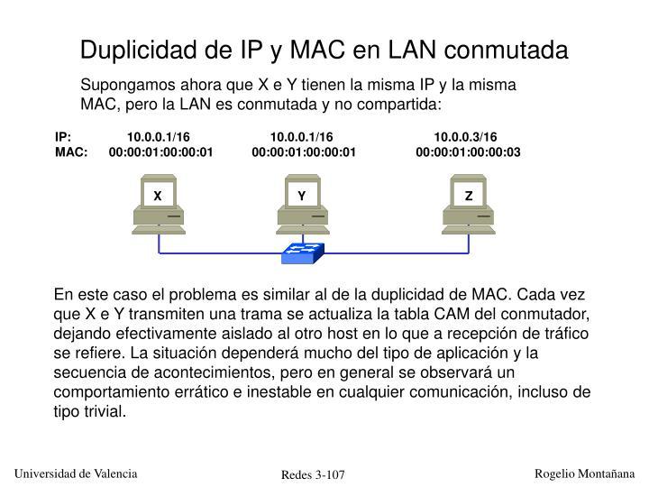 Duplicidad de IP y MAC en LAN conmutada