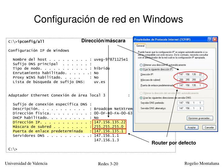 Configuración de red en Windows