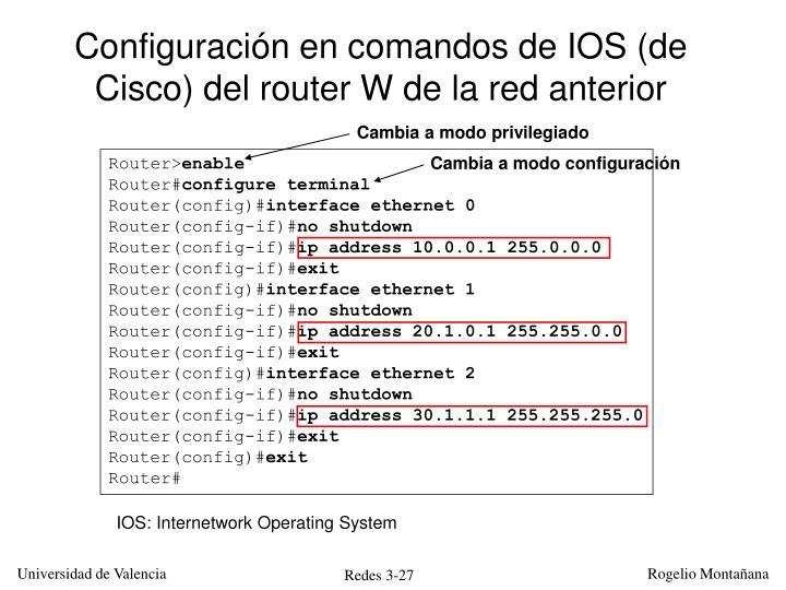 Configuración en comandos de IOS (de Cisco) del router W de la red anterior