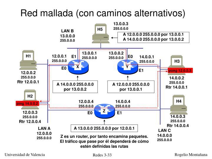 Red mallada (con caminos alternativos)