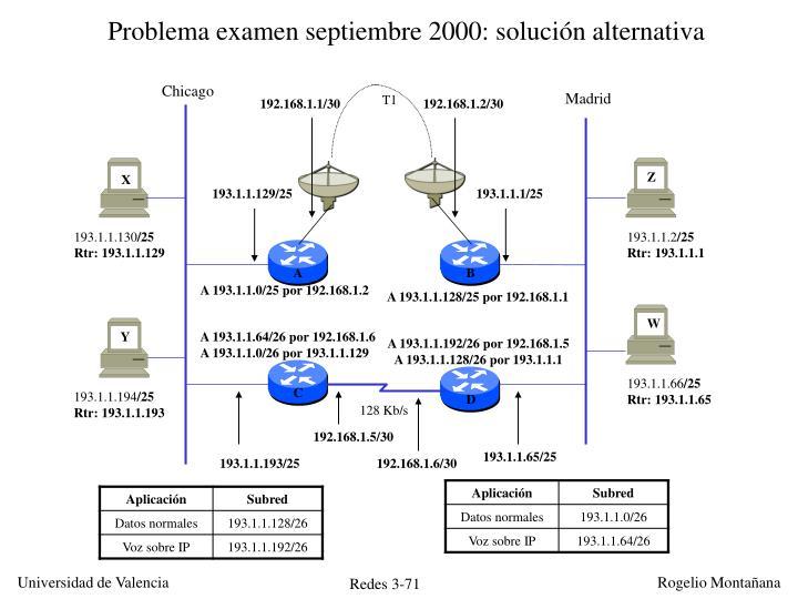 Problema examen septiembre 2000: solución alternativa