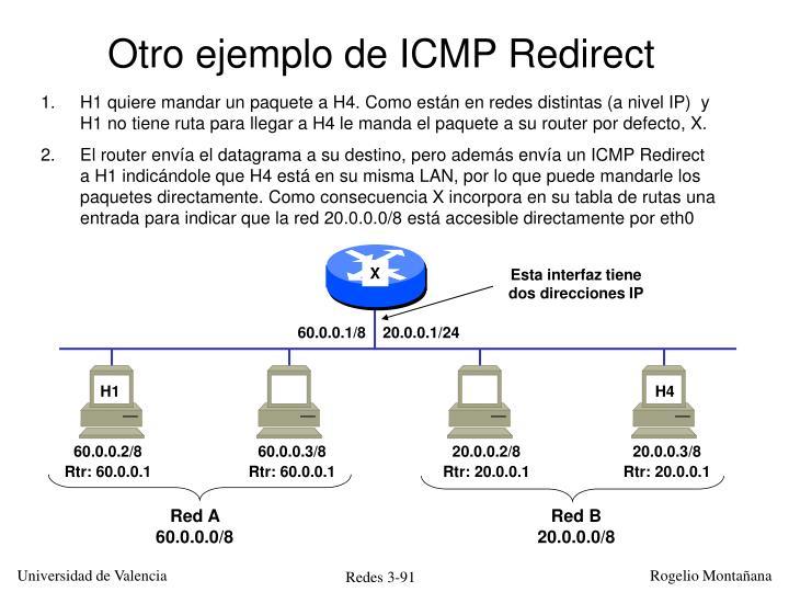 Otro ejemplo de ICMP Redirect