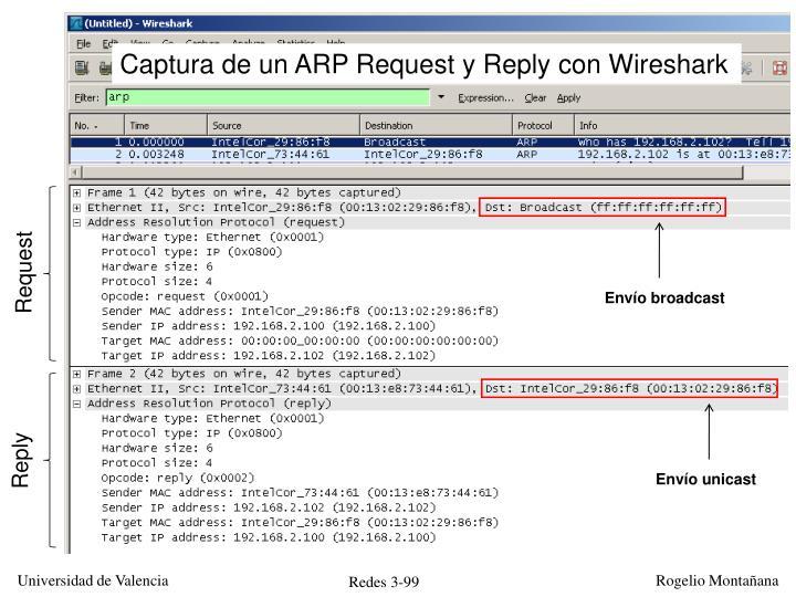 Captura de un ARP Request y Reply con Wireshark