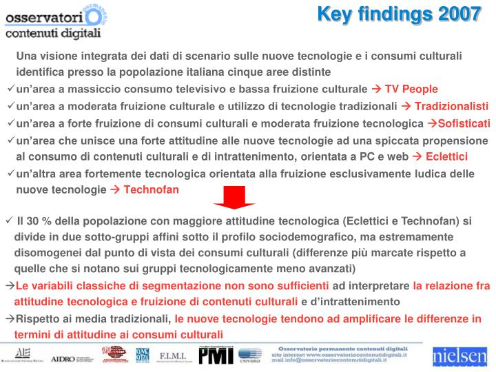Key findings 2007
