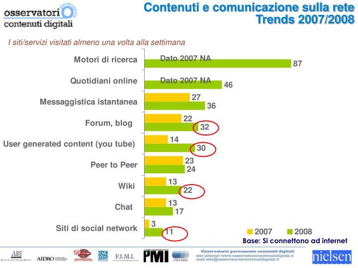 Contenuti e comunicazione sulla rete