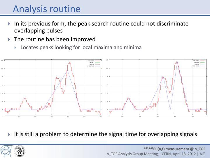Analysis routine