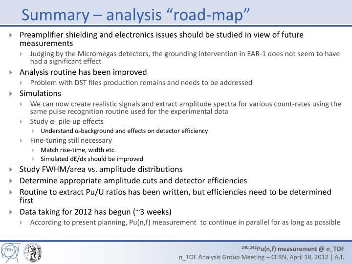 "Summary – analysis ""road-map"""