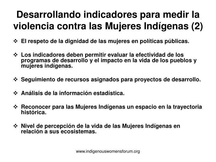 Desarrollando indicadores para medir la violencia contra las Mujeres Indígenas (2)
