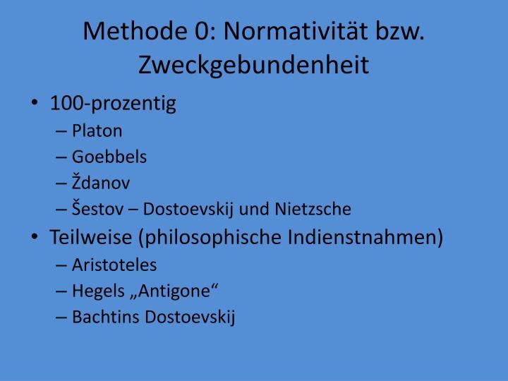 Methode 0: Normativität bzw. Zweckgebundenheit