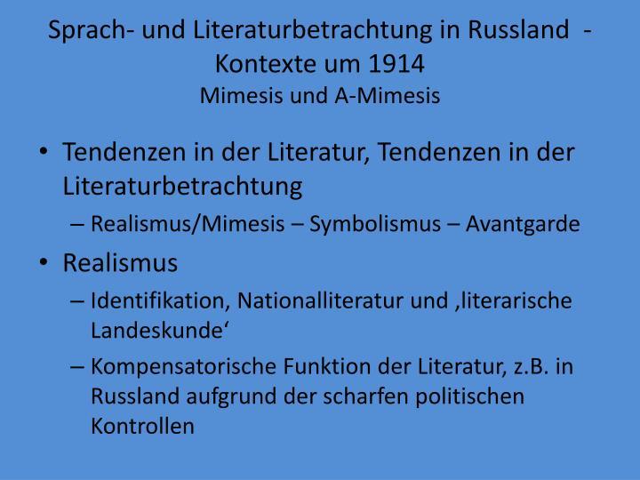 Sprach- und Literaturbetrachtung in Russland  - Kontexte um 1914