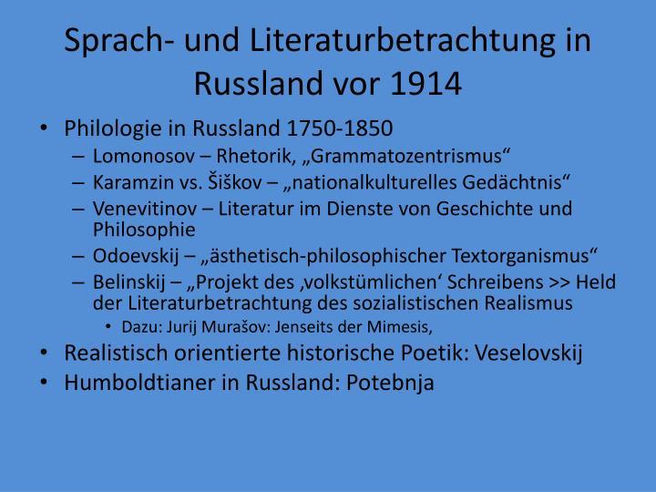 Sprach- und Literaturbetrachtung in Russland vor 1914