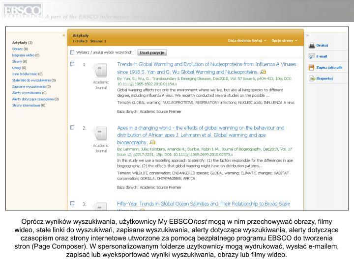 Oprócz wyników wyszukiwania, użytkownicy My EBSCO