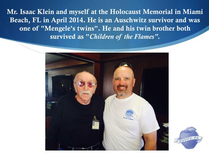 """Mr. Isaac Klein and myself at the Holocaust Memorial in Miami Beach, FL in April 2014. He is an Auschwitz survivor and was one of """"Mengele's twins"""". He and his twin brother both survived as """""""