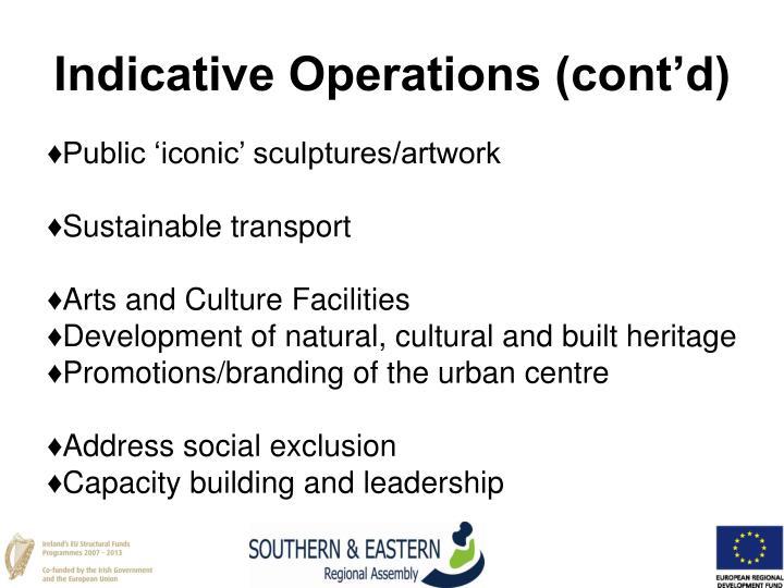 Indicative Operations (cont'd)