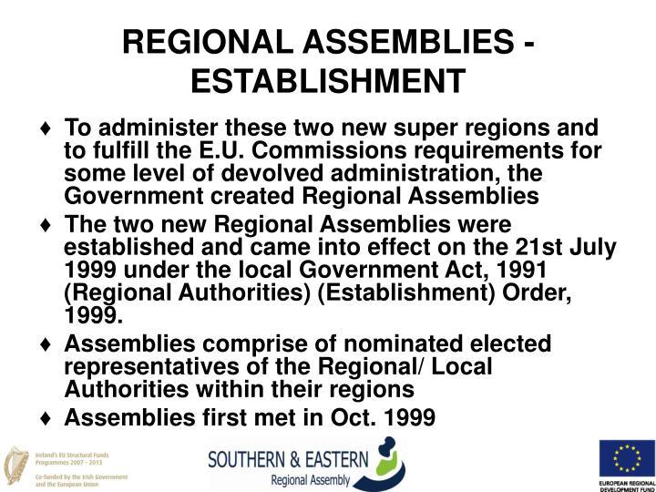 REGIONAL ASSEMBLIES - ESTABLISHMENT