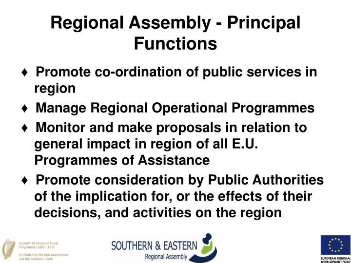 Regional Assembly - Principal Functions