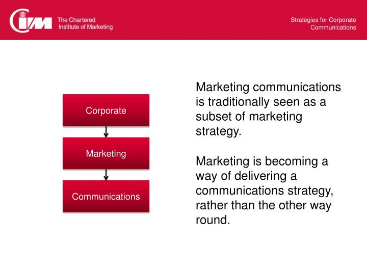 Marketing communications is traditionally seen as a subset of marketing strategy.