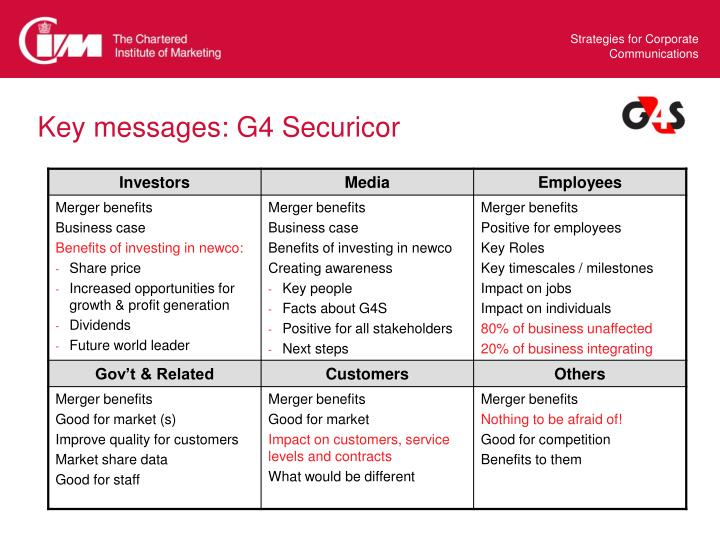 Key messages: G4 Securicor
