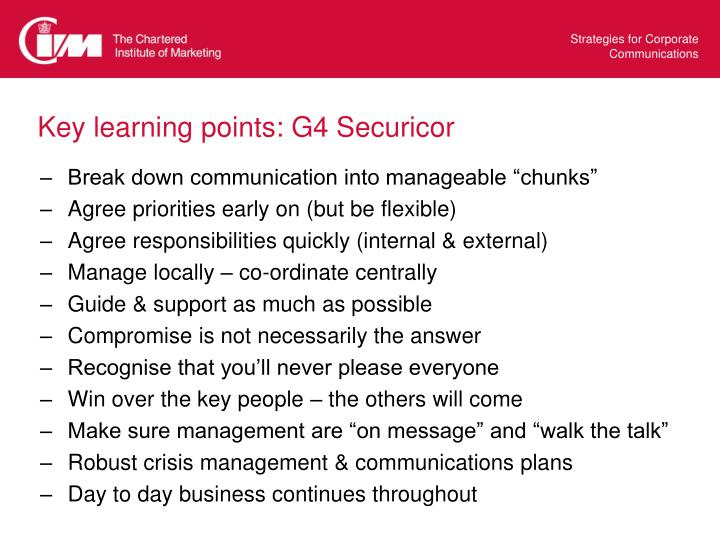 Key learning points: G4 Securicor