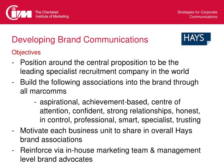 Developing Brand Communications