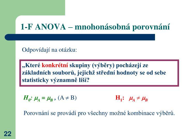 1-F ANOVA – mnohonásobná porovnání