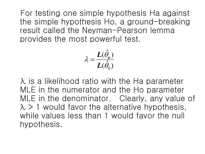 For testing one simple hypothesis Ha against the simple hypothesis Ho, a ground-breaking result called the Neyman-Pearson lemma provides the most powerful test.
