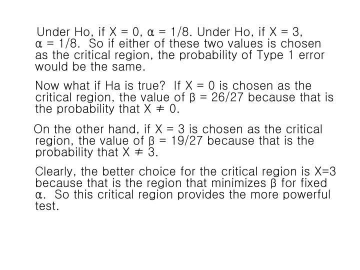 Under Ho, if X = 0,