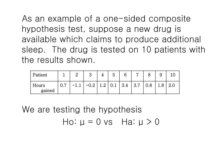 As an example of a one-sided composite hypothesis test, suppose a new drug is available which claims to produce additional sleep.  The drug is tested on 10 patients with the results shown.