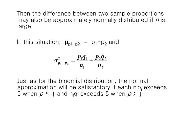 Then the difference between two sample proportions may also be approximately normally distributed if