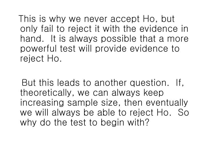 This is why we never accept Ho, but only fail to reject it with the evidence in hand.  It is always possible that a more powerful test will provide evidence to reject Ho.