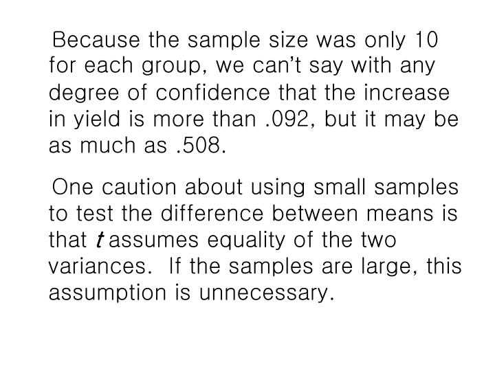 Because the sample size was only 10 for each group, we can