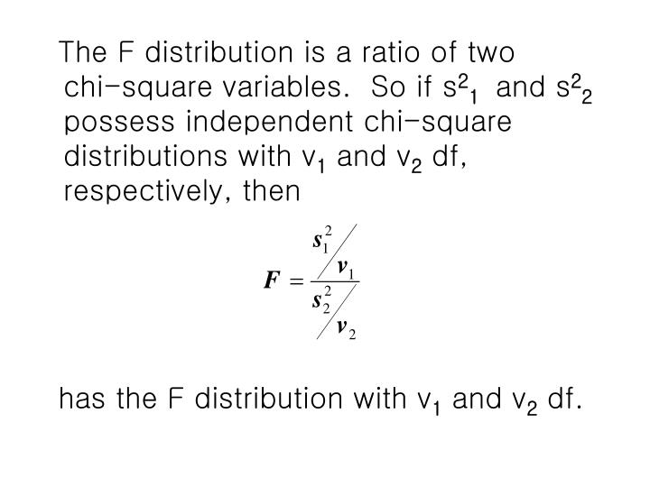 The F distribution is a ratio of two    chi-square variables.  So if s