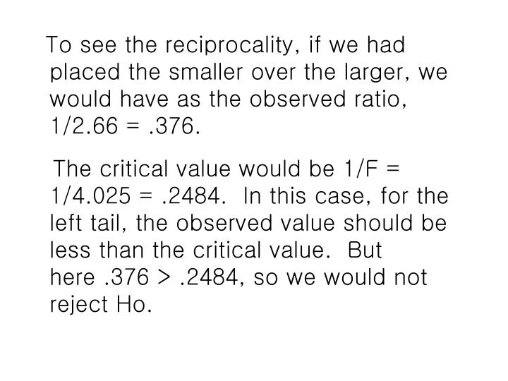 To see the reciprocality, if we had placed the smaller over the larger, we would have as the observed ratio,   1/2.66 = .376.