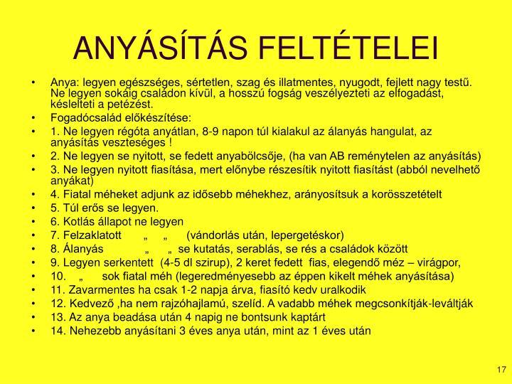 ANYÁSÍTÁS FELTÉTELEI