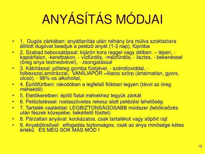 ANYÁSÍTÁS MÓDJAI