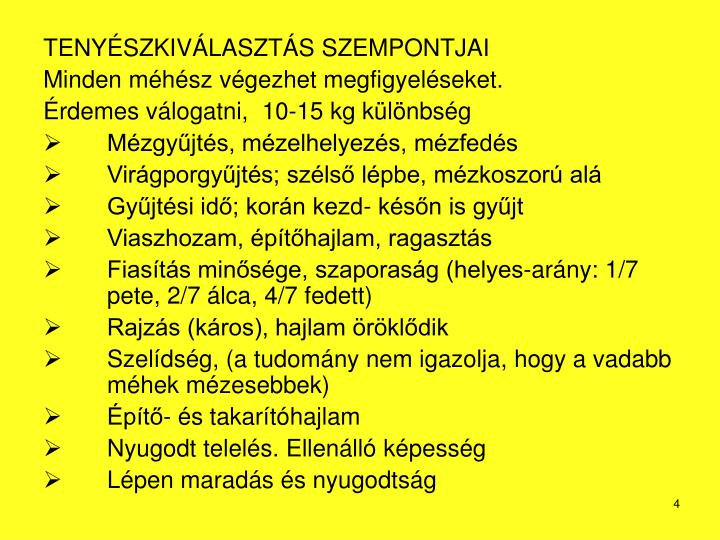 TENYÉSZKIVÁLASZTÁS SZEMPONTJAI