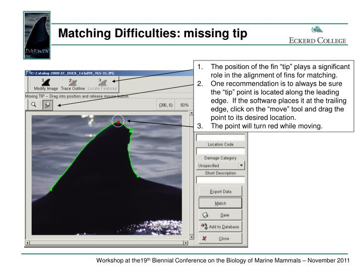 Matching Difficulties: missing tip