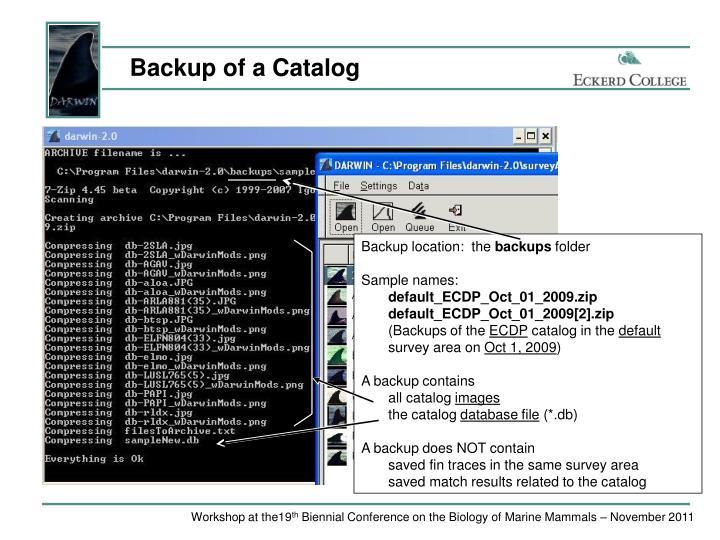 Backup of a Catalog