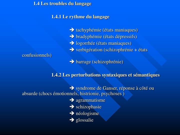 1.4 Les troubles du langage