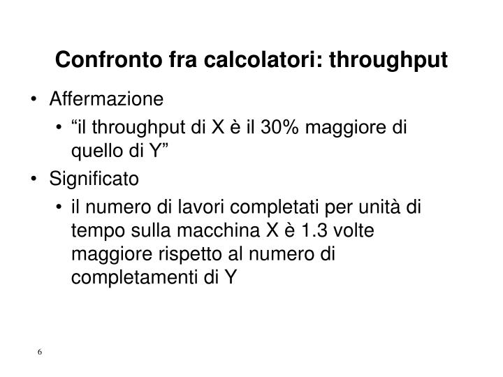 Confronto fra calcolatori: throughput