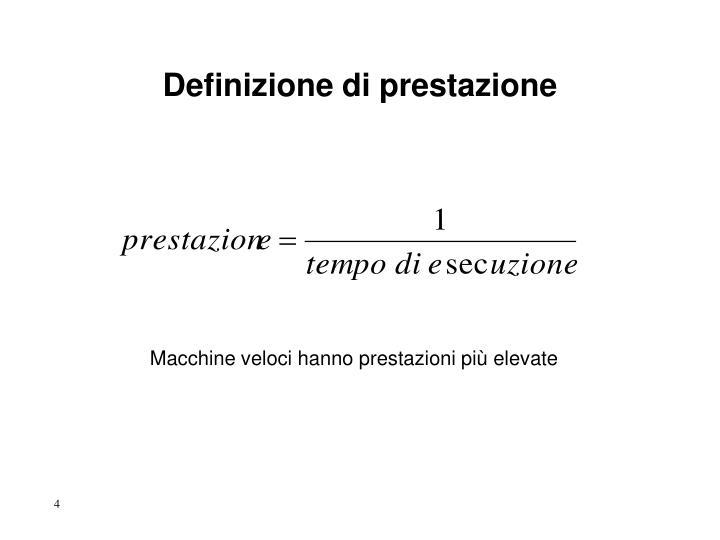Definizione di prestazione