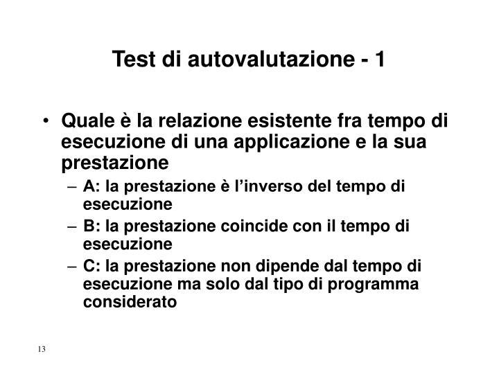 Test di autovalutazione - 1